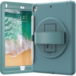 360 Degree Rotation PC+TPU Protective Cover with Holder & Hand Strap & Pen Slot For Apple iPad 9.7 (2018)(Emerald Blue)