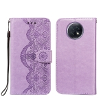 For Xiaomi Redmi Note 9T Flower Vine Embossing Pattern Horizontal Flip Leather Case with Card Slot & Holder & Wallet & Lanyard(Purple)