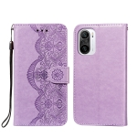 For Xiaomi Redmi K40 Flower Vine Embossing Pattern Horizontal Flip Leather Case with Card Slot & Holder & Wallet & Lanyard(Purple)