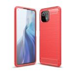 For Xiaomi Mi 11 Lite Brushed Texture Carbon Fiber TPU Case(Red)