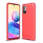 For Xiaomi Redmi Note 10 5G Brushed Texture Carbon Fiber TPU Case(Red)