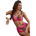 Women Sexy Printed High Waist Swimsuit Two Suit, Size:L(Rose Red)