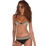 Women Sexy Printed Swimsuit Two Suit, Size:L(Orange)