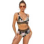 Sexy Bandage V-neck Net Yarn Stitching Printed High Waist Bikini, Size:XL