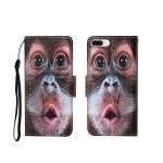 For iPhone 7 Plus Painted Pattern Horizontal Flip Leathe Case(Orangutan)