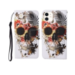For iPhone 11 Painted Pattern Horizontal Flip Leathe Case(Skull)