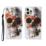 For iPhone 12 Pro Max Painted Pattern Horizontal Flip Leathe Case(Skull)