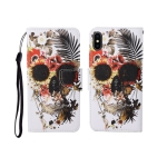For iPhone X Painted Pattern Horizontal Flip Leathe Case(Skull)