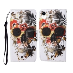 For iPhone XS Max Painted Pattern Horizontal Flip Leathe Case(Skull)