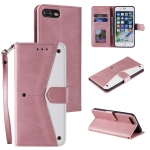 Stitching Calf Texture Horizontal Flip Leather Case with Holder & Card Slots & Wallet For iPhone 8 Plus / 7 Plus(Rose Gold)