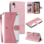 Stitching Calf Texture Horizontal Flip Leather Case with Holder & Card Slots & Wallet For iPhone XR(Rose Gold)
