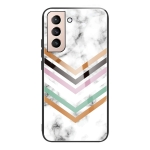 For Samsung Galaxy S21 5G Marble Tempered Glass Back Cover TPU Border Case(HCBL-2)