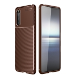 For Sony Xperia 10 III Carbon Fiber Texture Shockproof TPU Case(Brown)