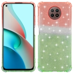 For OPPO F17 Pro Gradient Glitter Powder Shockproof TPU Protective Case(Orange Green)