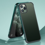SULADA Luxury 3D Carbon Fiber Textured Shockproof Metal + TPU Frame Case For iPhone 11 Pro Max(Dark Green)