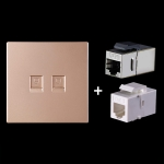 CAT.6 Shielded Pass-through Network Module, Dual Ports Panel + Shielded Pass-through + Telephone Socket (Gold)