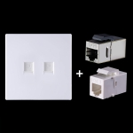 CAT.6 Shielded Pass-through Network Module, Dual Ports Panel + Shielded Pass-through + Telephone Socket(White)