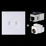 CAT.6 Shielded Pass-through Network Module, Dual Ports Panel + Shielded Pass-through + TV Socket (White)