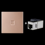 CAT.6 Shielded Pass-through Network Module, Single Port Panel + Shielded Pass-through (Gold)