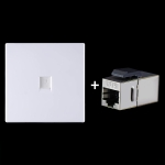 CAT.6 Shielded Pass-through Network Module, Single Port Panel + Shielded Pass-through(White)