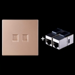 CAT.6 Shielded Pass-through Network Module, Dual Ports Panel + Shielded Pass-through (Gold)