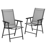 [US Warehouse] 2 PCS Portable Patio Folding Chairs with Armrest