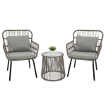 [US Warehouse] 3 in 1 Patio Weaving Rattan Wicker Furniture Set