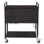 [US Warehouse] Rattan Freezer Trolley Storage Shelf with Wine Rack, Size: 136x86x42cm