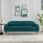 [US Warehouse] Velvet Two-seat Sofa with Wide Flared Armrests, Size: 78.74 x 33.07 x 30.7 inch (Petro Green)