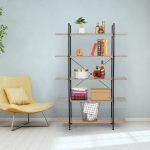 [US Warehouse] Household Steel-wood 5-layer Widened Bookshelf Storage Rack with X Cross Fixing Parts, Size: 70.7 x 47.2 x 13.4 inch