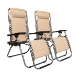 [US Warehouse] 2 PCS Plum Blossom Lock Portable Folding Chairs (Khaki)