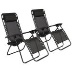[US Warehouse] 2 PCS Plum Blossom Lock Portable Folding Chairs, Size: 175x66x111cm (Black)