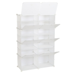 [US Warehouse] 2 Rows 7 Layers 14 Grids Free Assembly DIY Lattice Shoe Rack Organizer Storage Rack Tower Shelf Storage Cabinet Stand (White)