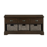 [US Warehouse] Wood Storage Bench with 3 Drawers & 3 Woven Baskets (Coffee)