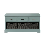 [US Warehouse] Wood Storage Bench with 3 Drawers & 3 Woven Baskets (Green)