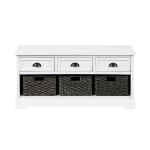 [US Warehouse] Wood Storage Bench with 3 Drawers & 3 Woven Baskets (White)