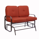 [US Warehouse] Outdoor Swing Gliding Rocking Chair Terrace Double Benches (Red)