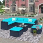 [US Warehouse] 9 PCS /Set Outdoor Patio PE Wicker Rattan Sofa Furniture Set (Blue)