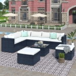 [US Warehouse] 9 PCS /Set Outdoor Patio PE Wicker Rattan Sofa Furniture Set (Beige)