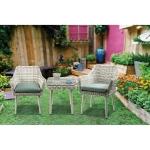 [US Warehouse] 3 PCS /Set Outdoor Patio Bistro Table Chair Furniture Set
