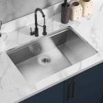 [US Warehouse] Stainless Steel Single Bowl Kitchen Sink with Colander, Size: 33 x 21 x 10 inch