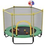 [US Warehouse] Mini Toddler Trampolines with Safety Enclosure Net & Basketball Hoop, Size: 5FT (Green)