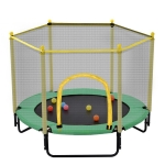 [US Warehouse] Mini Toddler Trampolines with Safety Enclosure Net, Size: 5FT (Green)