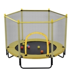 [US Warehouse] Mini Toddler Trampolines with Safety Enclosure Net, Size: 5FT (Yellow)