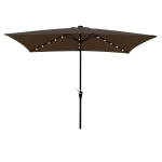 [US Warehouse] Rectangular Patio Umbrella Solar LED Lighted Outdoor Market Table Waterproof Umbrellas Sunshade with Crank & Push Button Tilt, Size: 10×6.5Ft (Coffee)