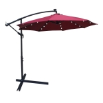 [US Warehouse] Outdoor Patio Umbrella with Solar Powered LED Lighted illumination & Crank & Cross Base, Size: 10Ft (Red Wine)