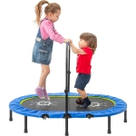 [US Warehouse] Parent-Child Twin Trampoline with Adjustable Handrail & Safety Cover, Size: 55x36x39.4-47.2 inch (Blue)
