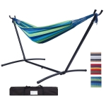 [US Warehouse] 112 inch Large Size Double Classic Hammock with Carrying Pouch (Blue Stripes)