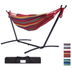 [US Warehouse] 112 inch Large Size Double Classic Hammock with Carrying Pouch (Red Stripes)