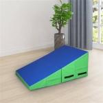 [US Warehouse] Foldable PVC Mesh Cloth Gymnastics Mat, Size: 84x60x35cm (Blue Green)